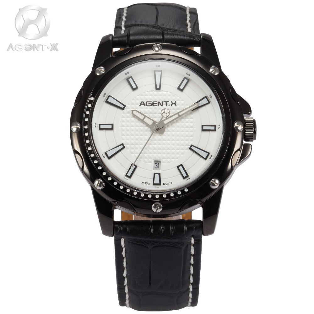 AGENTX Brand Black Leather Strap Men Business Clock Auto Date Display Round Analog Quartz Wrist Casual Watch Gift Box / AGX121 agentx luxury brand calendar display casual relogio white dial analog black leather strap clock wrist men quartz watch agx116