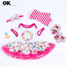 OK 6-24M Girl Cotton Print Floral Bud Dresses Baby Sets Sweet Dress for Spring/Summer Newborn