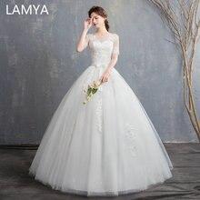 Elegant Flower Bride Gown 2019 Cheap Short Sleeve Women O Neck Ball Vestido De Noiva Real Photo meghan markle wedding dress