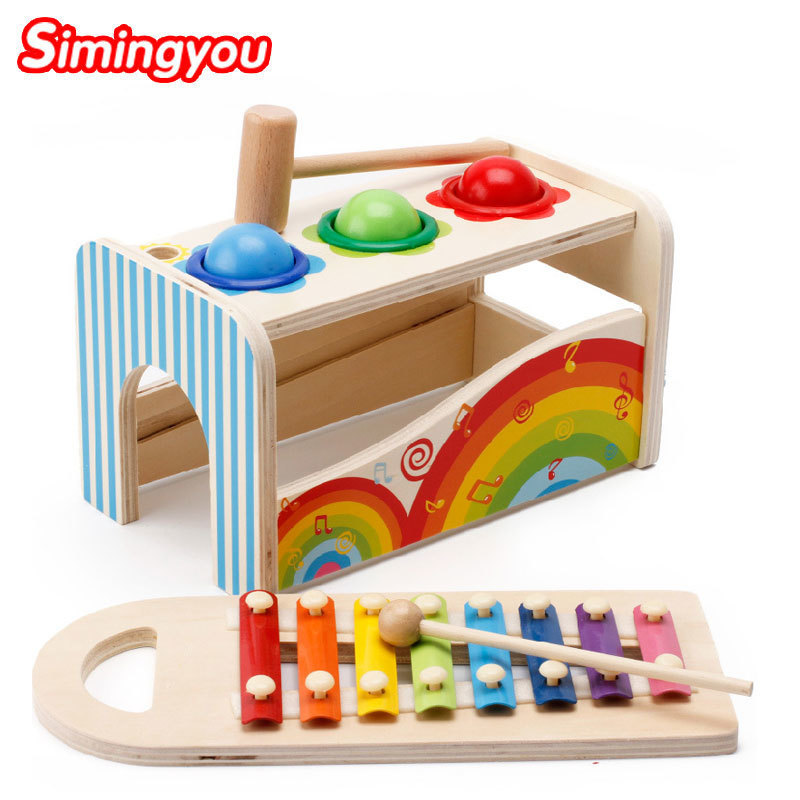 Simingyou Wooden Baby Toy Musical Activity Cube Play Center Toy Educational Toys For Children A50-5077 Drop Shipping children educational wooden trumpet musical toy