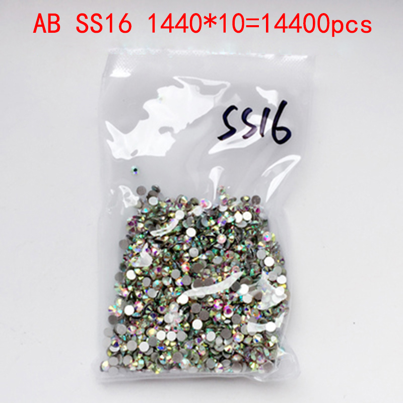 Wholesale Rhinestones New AB ss16 14400 pcs 4.0mm Crystal Color Non Hotfix Rhinestones For Nails Flatback Nail Art Decorations glitter flatback crystal resin rhinestones 2 6mm aquamarine ab color new design for nail art decorations stick drill non hotfix