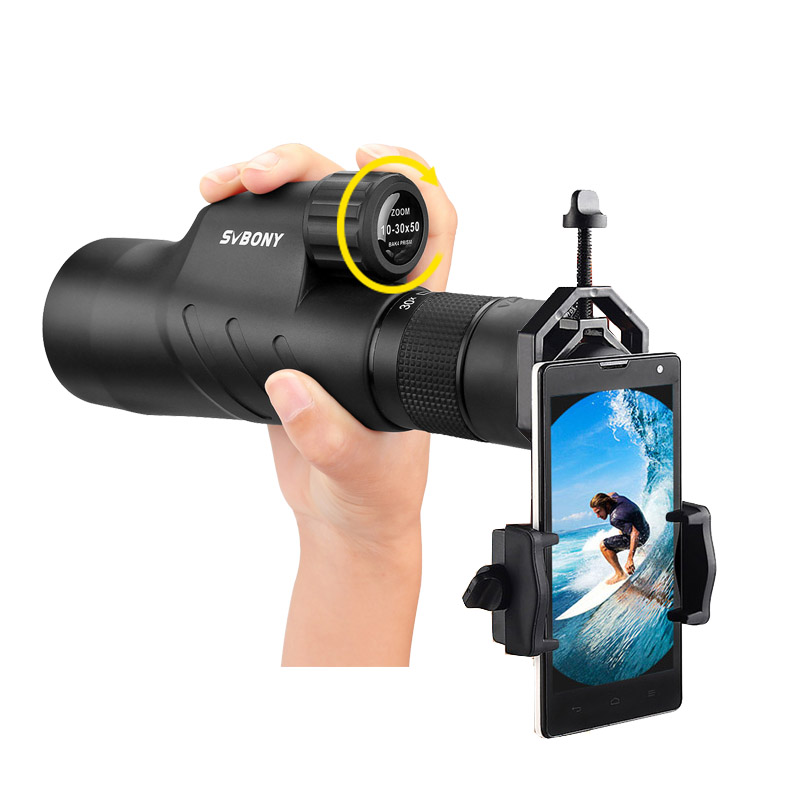 SVBONY 10-30x50 Zoom Monocular BaK4 Prism Waterproof High Magnification Powerful Telescope w/Smartphone Adapter for Camping SV45 цена