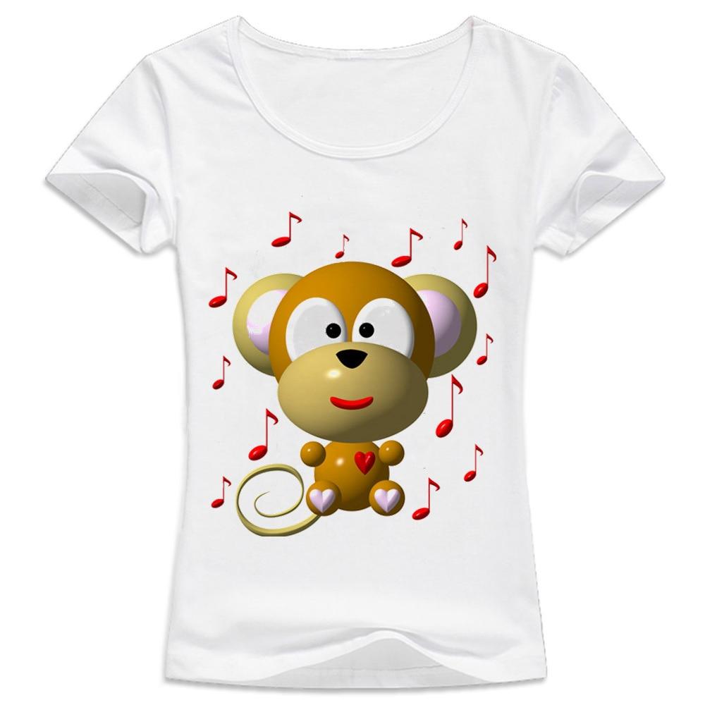 T-Shirt Women female Printing Short Sleeves t shirt tshirt Cut Musical Monkey Harajuku hipster kawaii