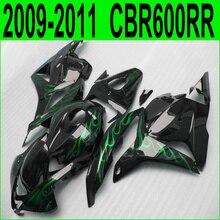 Aftermarket частей тела обтекателя комплект для Honda CBR 600RR впрыска 09 10 11 12 зеленый пламя черный обтекателя CBR600RR 2009-2012 25NJ