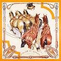 Верховая Шарф Женщины Роскошные Foulards Площади Твердых Шелковые Шарфы Многофункциональный Бандана Новый