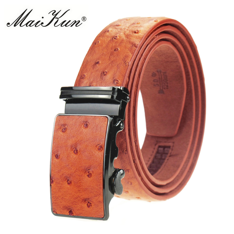 Maikun luxo genuíno cintos de couro para homens cinto de avestruz grão cowskin fivela automática cinto ceinture homme cinto cinto masculino