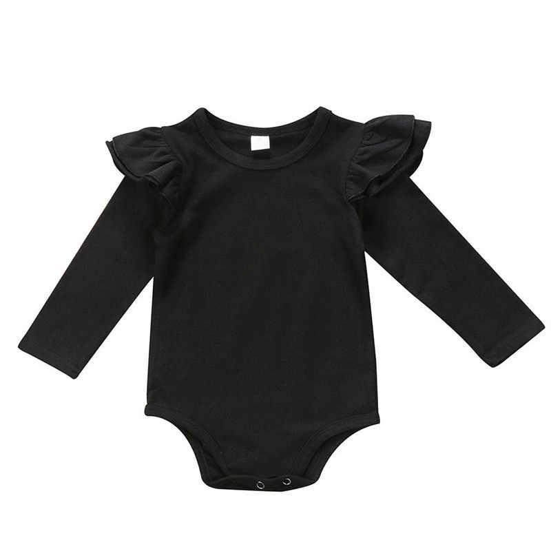Для новорожденных; для маленьких девочек; цвет белый, черный; однотонные; развевающиеся рукава; боди; комбинезон; одежда; сезон лето-весна; длинный рукав