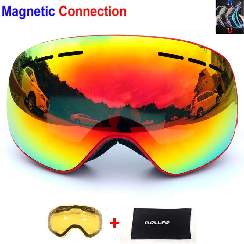 Homme femme Ski Lunettes avec Magnétique Double Couches Objectif Ski Anti-brouillard UV400 Snowboard Lunettes lunettes de Ski Lunettes Honorée objectif