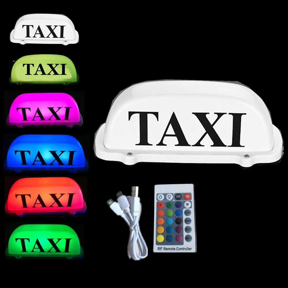 Car top Light Rechargeable with Remote control Rechargeable battery LED TAXI TOP Light 7 Color Change