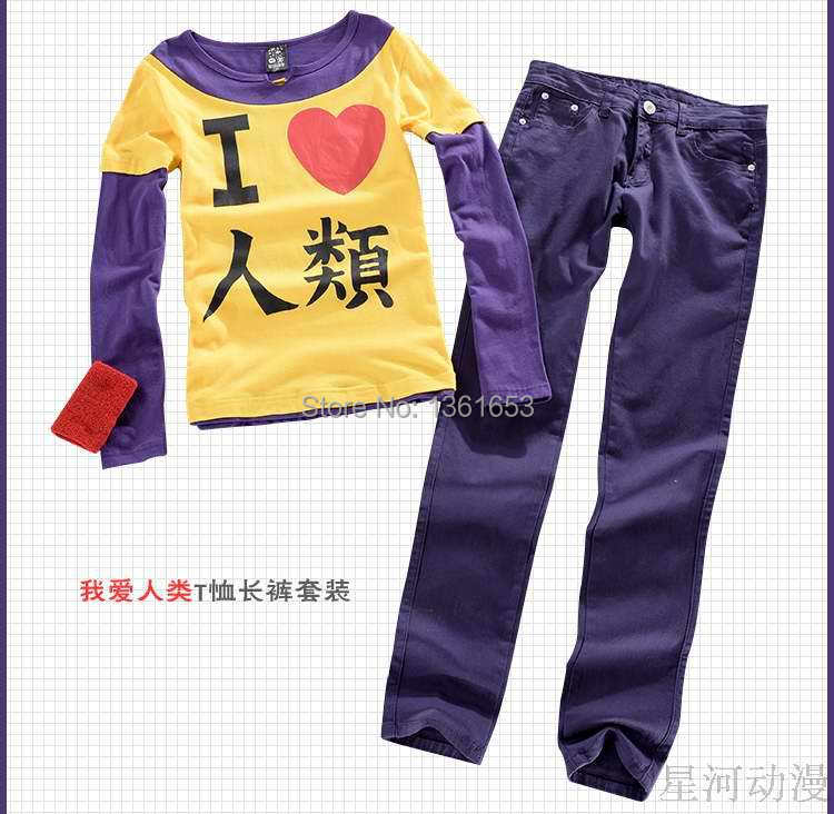 Anime The game of life no game no life I love human suit fake two-piece long-sleeved short-sleeved t-shirt  and pants