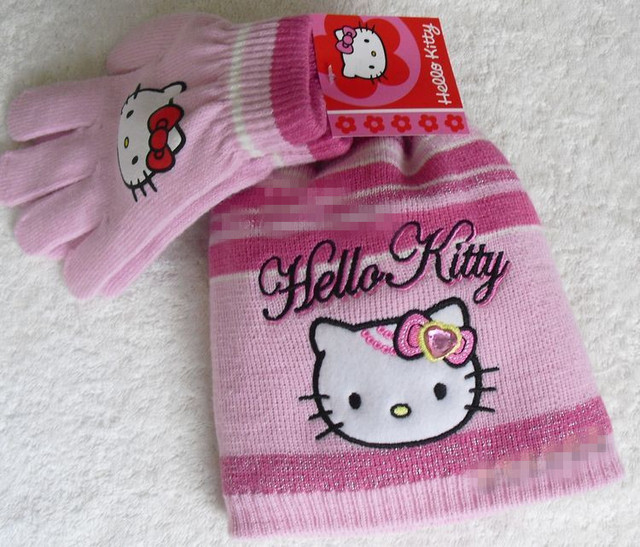 retail winter girls knitted glove and hat 2pcs set kids hat set hello kitty design pink grey and black