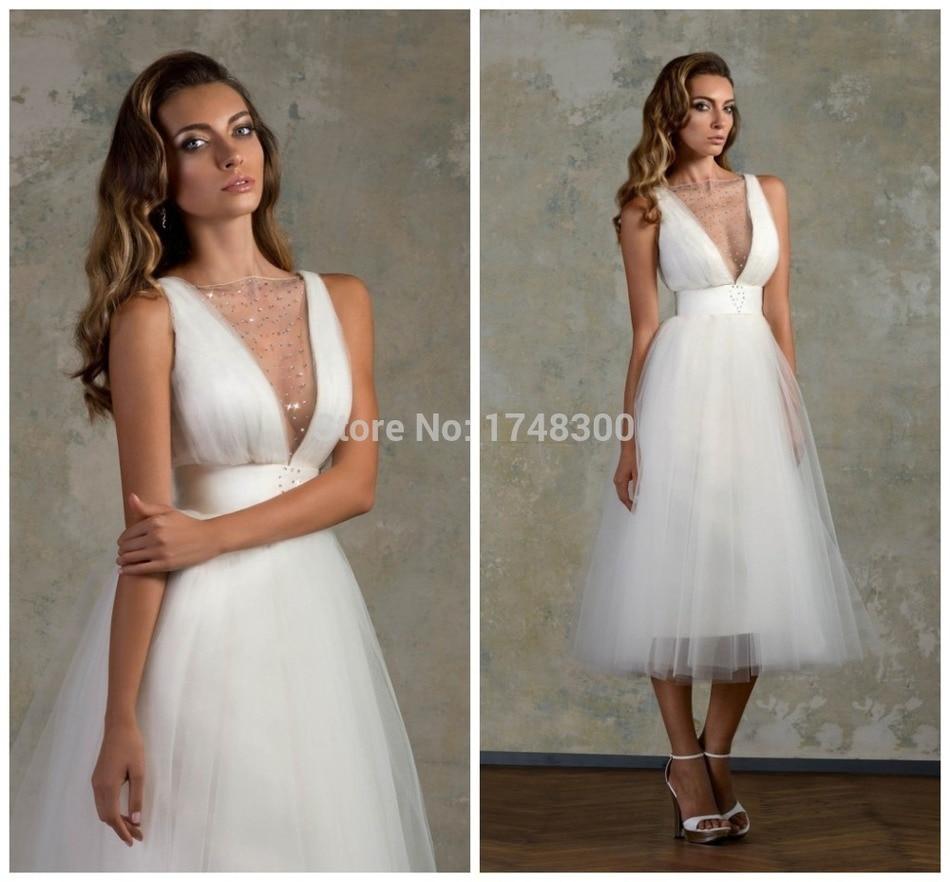 bien savvy sheer v neck little white wedding dresses short mini crystals tiered tulle pleat v back zipper vestidos de novia sash