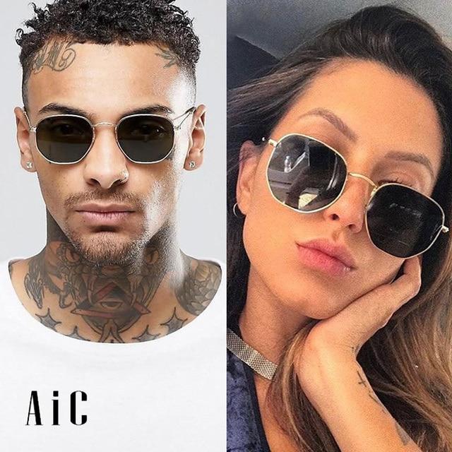 4464fc5dcf2 AiC 2018 Vintage Sunglasses for Women and Men Retro Brand Designer Sun Glasses  Men Polygon Glasses