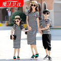 2016 Matching Mother Daughter Dresses Father Son T-shirt Family Clothing Plus Size Cotton T-shirt Famlily Look Striped Dresses