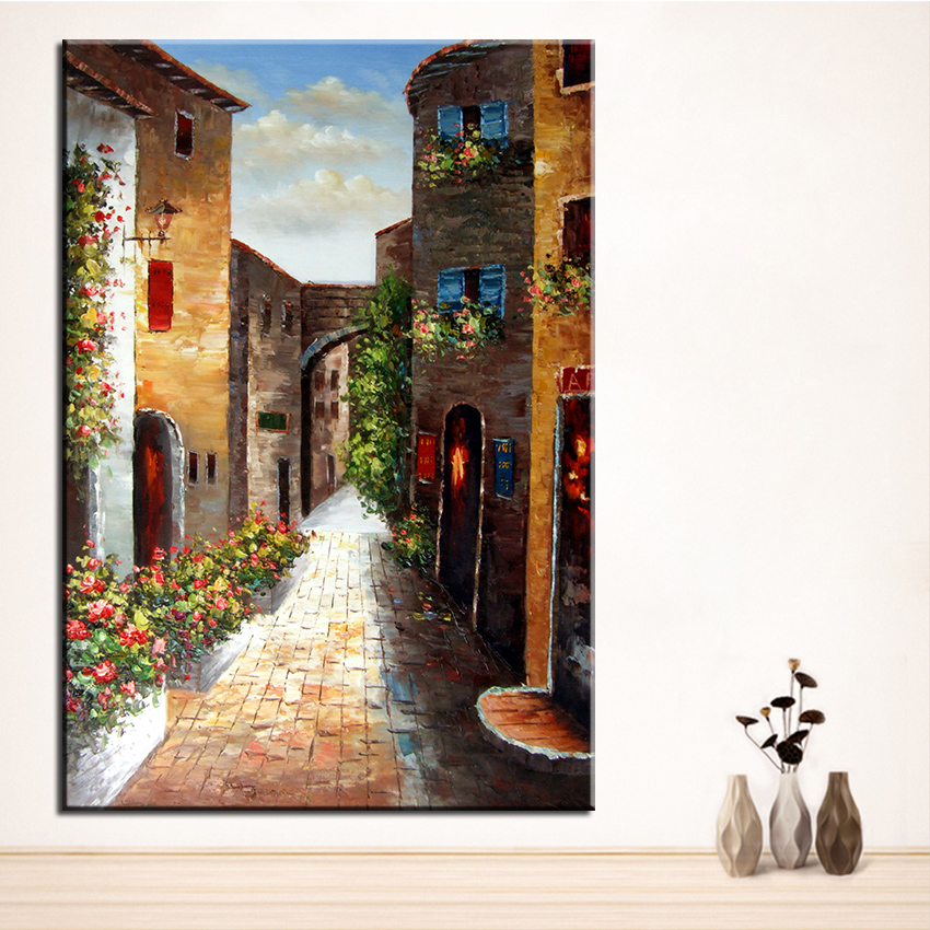ᑐSin marco impreso simple vintage ciudad paisaje Pintura sobre tela ...