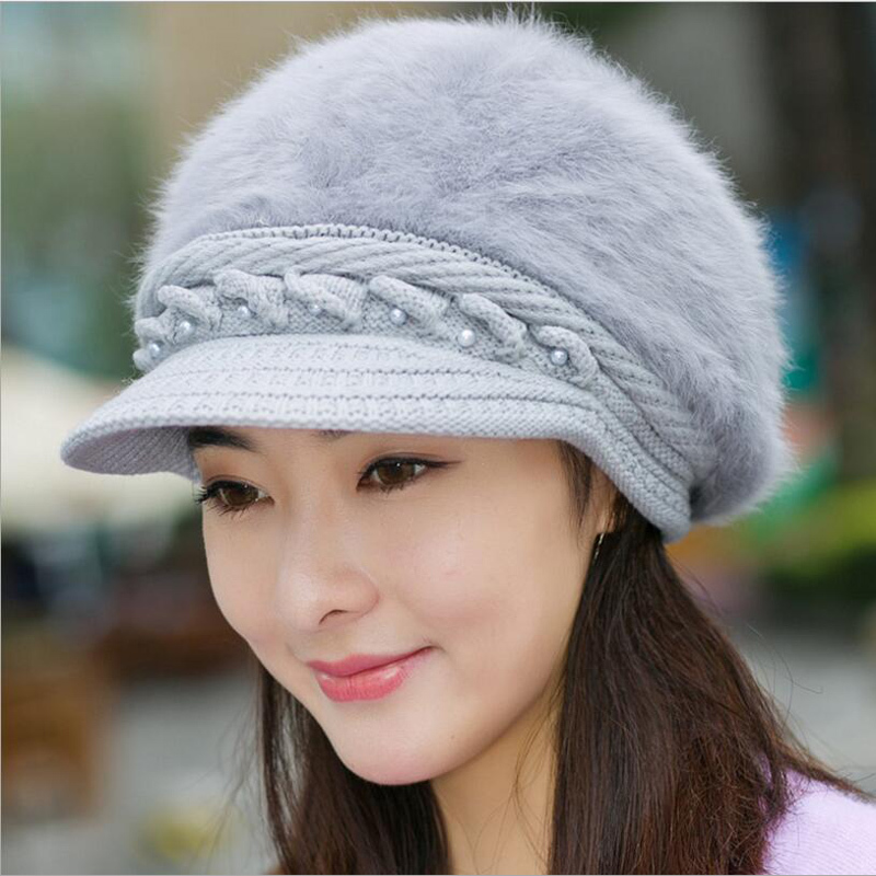 Elegant Women's Winter Rabbit Fur Hat Female Fall Knitted Hats for Woman Cap Autumn Ladies Fashion   Skullies     Beanies