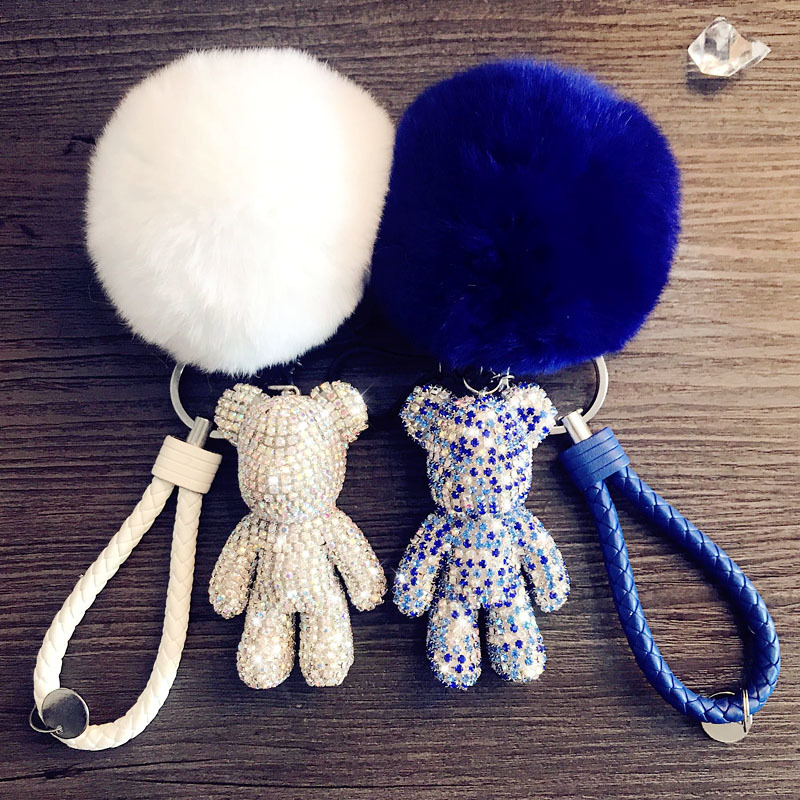 Pompom Fur Ball Leather Weave Rope Bomgom Popobe Gloomy Bear Keychain Car Key Holder Charm Rhinestone Key Ring Chain Bag Pendant