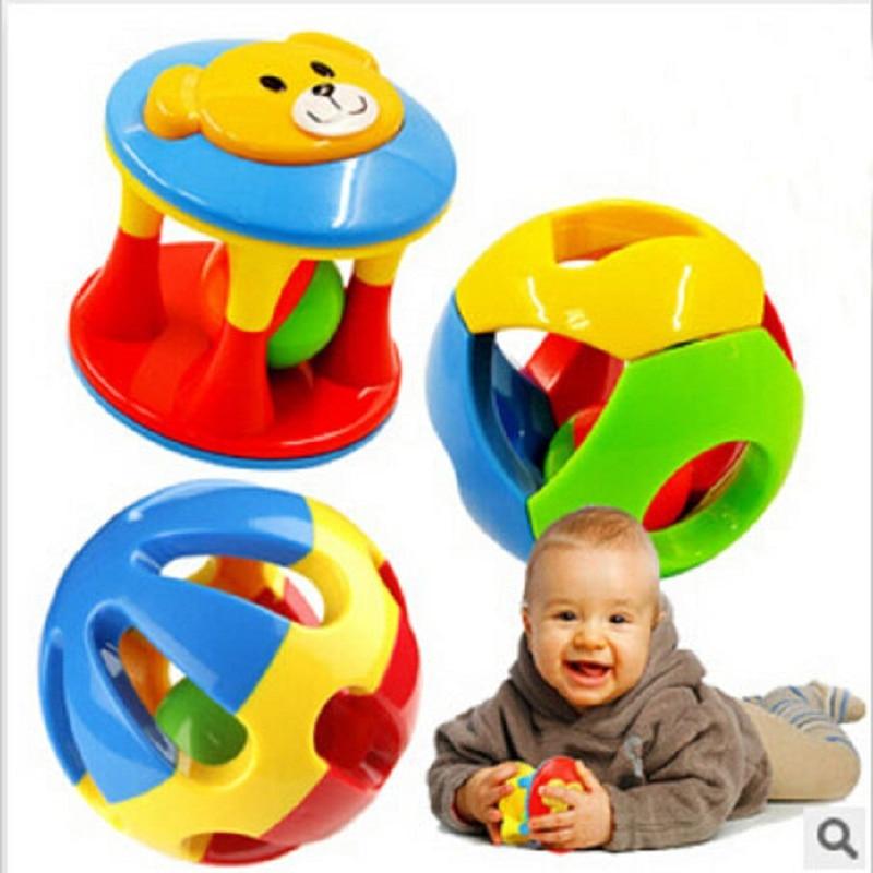 פלסטיק חינוך כדור בייבי הצעצועים 3pcs / 1 סט מוסיקלי עריסת Mobiles ההדרכה אחזה יכולת ילדי צעצוע יילוד בייבי מחרטת ראטל