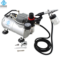 OPHIR Airbrush Kit with Air Compressor Dual-Action Spray Paint Gun for Model Hobby Makeup Tattoo Nail Art Body Paint_AC089+AC005