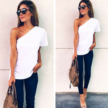 One off shoulder top ruffles T shirt women tops 2017 summer autumn casual shirt Long sleeve cool sexy blusas