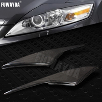 FUWAYDA 2pcs High Quality Real Carbon Fiber decoration Headlights Eyebrows Eyelids cover for FORD Mondeo MK4 2007 2013