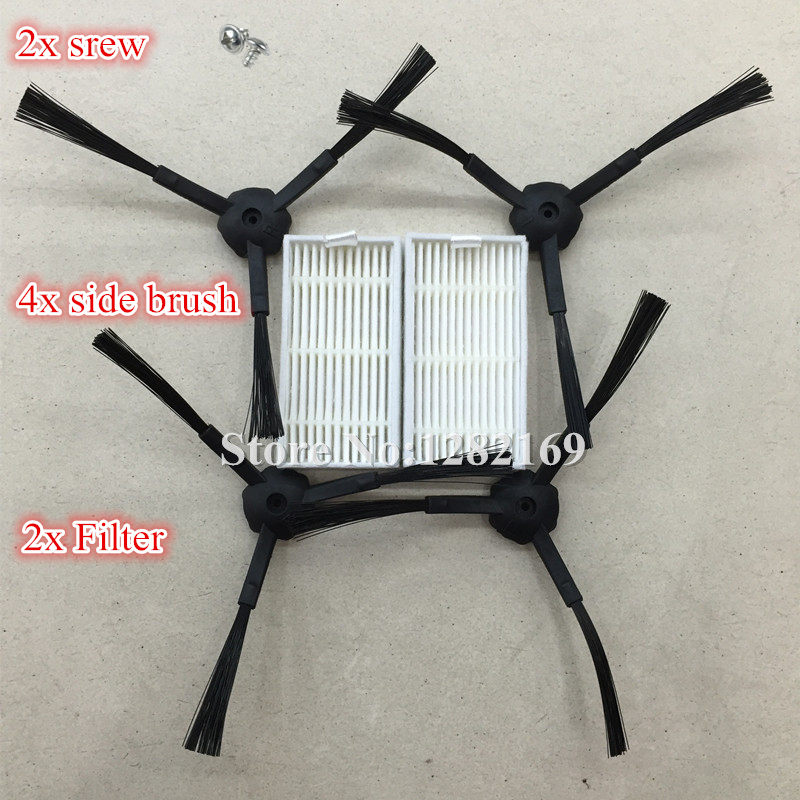 4x Robot Vacuum Cleaner Side Brush 2x srew + 2x HEPA Filter For Panda X500 Robotic