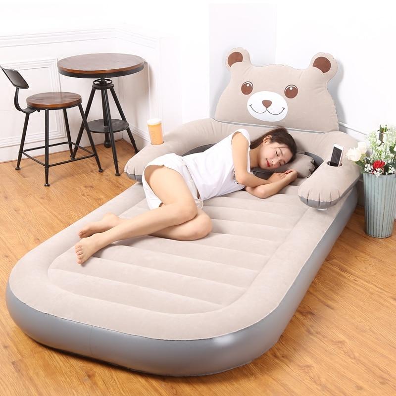 Air Mattress Thickened Household Folding Double Cartoon Inflatable Totoro Bed Simple Air Cushion Bed Single Air Cushion