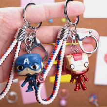 Marvel Avengers Key chain New Cartoon Character Captain America iron Man keychains Ormen And Women Charm Package Keyring Pendant