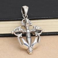 925 Sterling Zilveren Vintage Zilveren Kruis Hanger Ketting Hanger Sieraden stamper JiangMo anker sturen mannen lederen touw