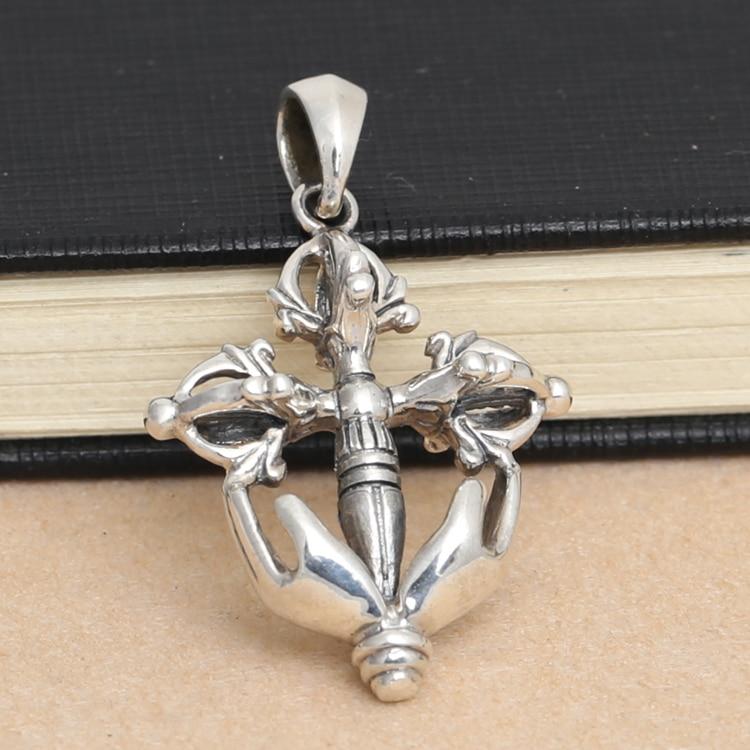 925 argent Sterling Vintage argent croix pendentif collier pendentif bijoux pilon JiangMo ancre envoyer hommes en cuir corde