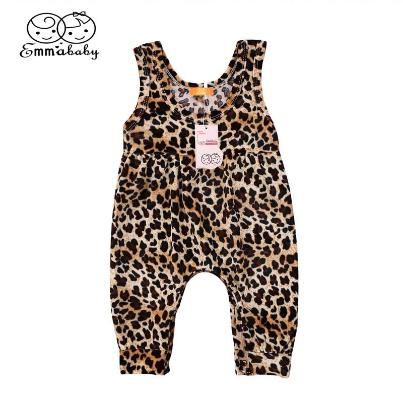 Rompers Casual Newborn Baby Girls Leopard Romper 2018 Newest Summer Girls Vest Cotton Romper Hot Sale Bebes Harem Jumpsuit Baby Clothing