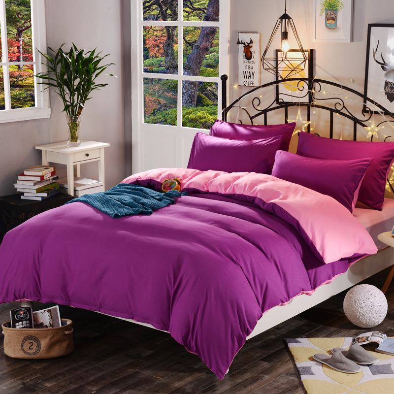 1pcs Cotton Blend Duvet Cover Solid Color Reactive Printing Comforter Cover Twin Full Queen King Size