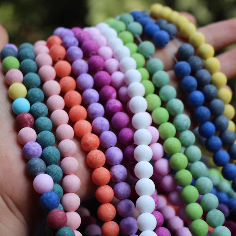 """15.5 """"8 מ""""מ מאט הרי אבן חרוזים רב צבע אופנה חרוזים להכנת תכשיטים סיטונאי וקמעוני"""