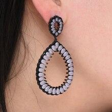 SisCathy High Quality Handmade Drop Earrings for Women Elegant Crystal Bride Wedding Prom Party Fashion Jewelry