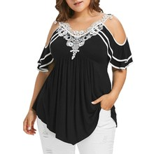 2019 Summer Womens Plus Size Blouses Streetwear Cold Shoulder Lace Tops Tunic Ladies Top Casual Clothing