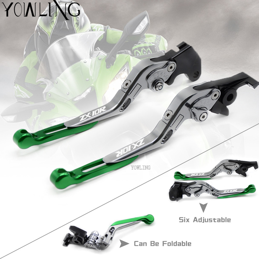 Titanium&Green CNC Adjustable Motorcycle Brake Clutch Levers For kawasaki ZX10R 2006-2015 2008 2009 2010 2011 2012 2013 2014 for kawasaki zx10r 2006 2015 2007 2008 2009 2010 2011 2012 2013 2014 red