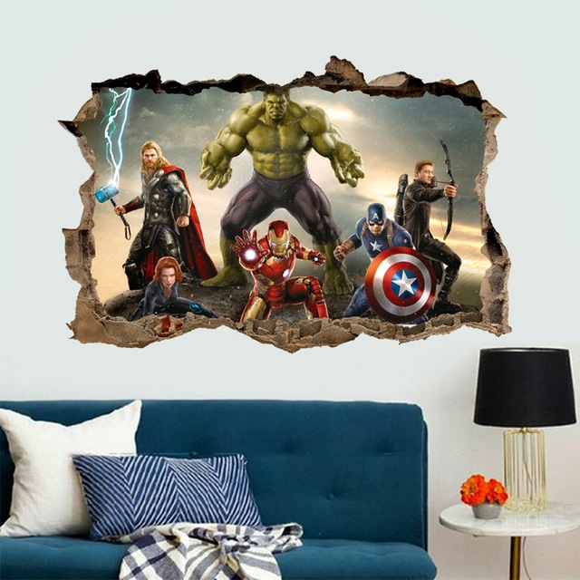 cartoon movie Avengers wall stickers for kids rooms home decor 3d effect decorative wall decals diy mural art pvc posters art 3