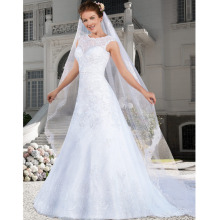 Custom Made Vestido De Noiva Vintage Veil White/Ivory Satin Applique Beading Lace Wedding Dress