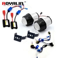 ROYALIN Bi Xenon Fog Light Lens Kit 2 5 Metal Projector Lens W H11 AC HID