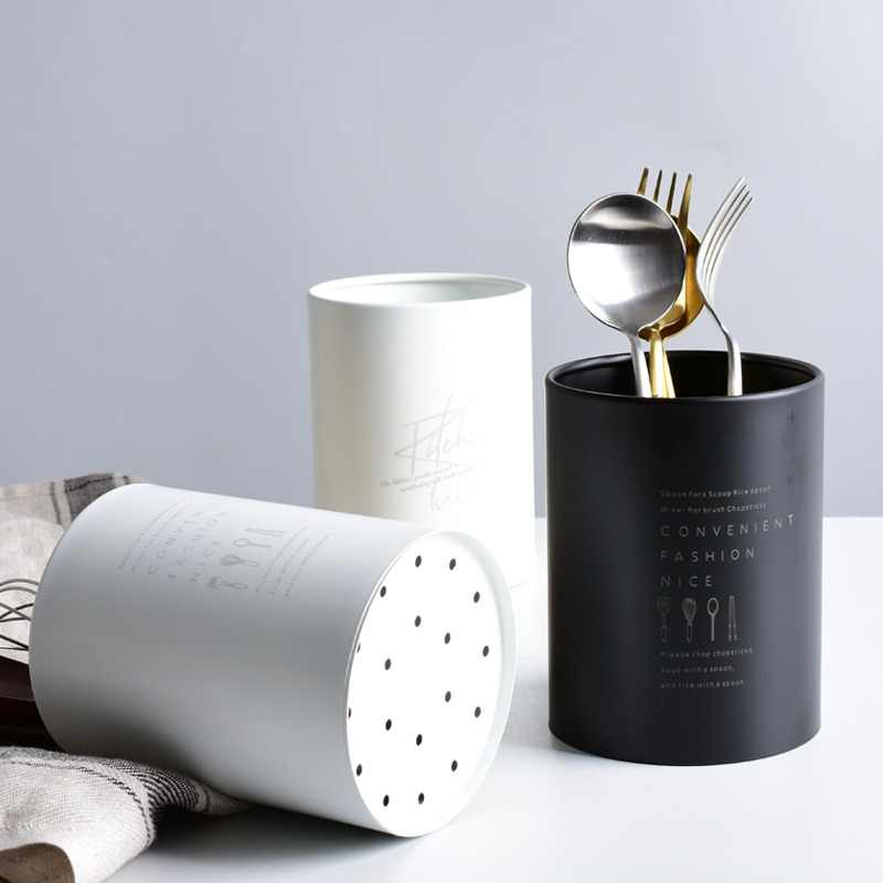 Nordic Style Stainless Steel Chopsticks Containers Creative Letter Prints Kitchen Utensils Holders Multi-Use Storage Box