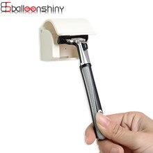 BalleenShiny Mens Razor Shaver Plastic Storage Rack Sticky Adhesive Bathroom Tool Holder Organizer