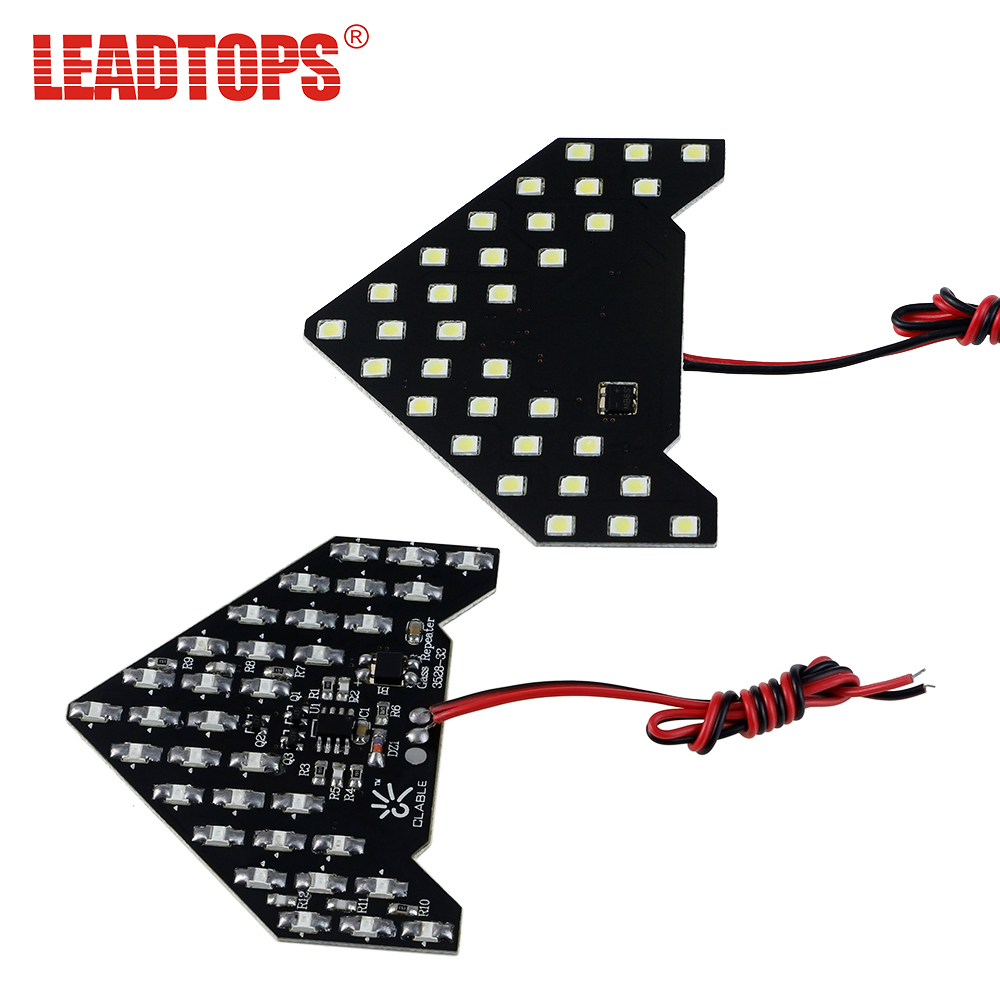 LEADTOPS 2x 33 SMD LED Arrow Panels Car Sticks Side Mirror Turn Signal Indicator Sequential Yellow/Red/Blue/White Flash Light AE 1pcs universal car amber arrow panel yellow 14 smd led car side mirror rear view indicator turn signal light lamp