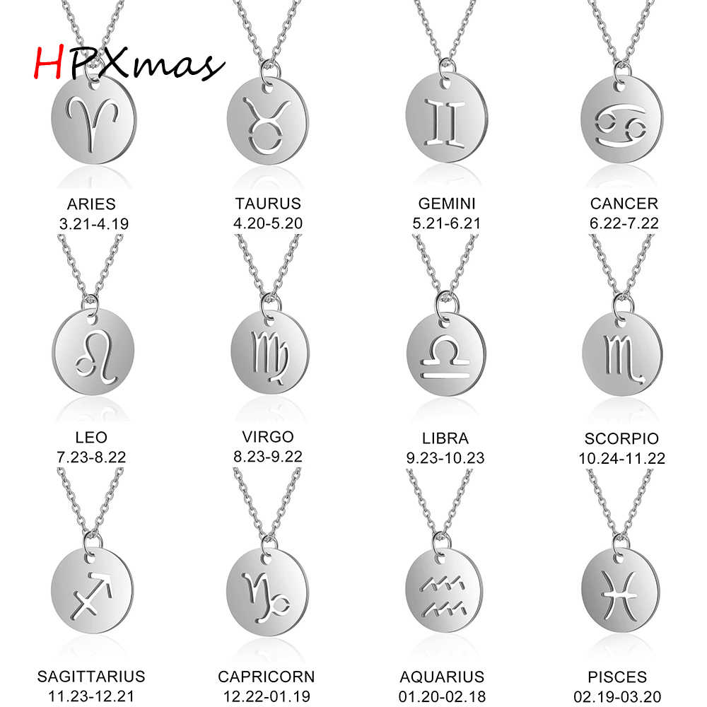 HPXmas Fashion Round coin Titanium steel 12 Constellation Zodiac Sign Virgo Leo Virgo Pendant Necklace Women Men Jewelry C42
