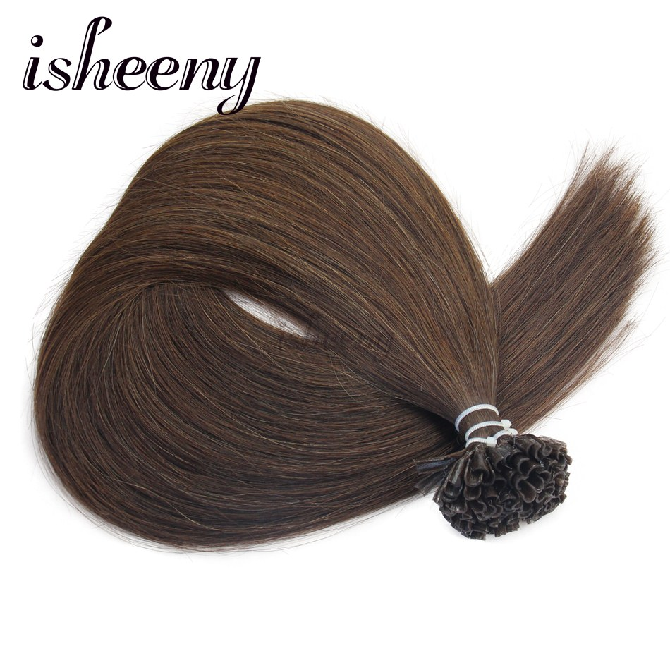 Isheeny 4# 14 18 20 22 100% Real Remy Fusion Middle brown Keratin Tip ...