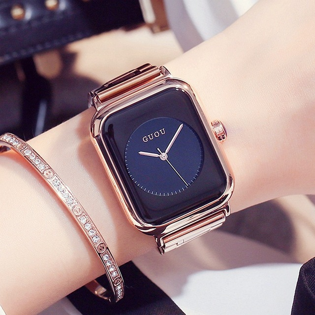 5360be9d9d3a 2018 GUOU Brand Quartz Watches Women Ladies Simple Trendy Square Gold Steel  Dress Fashion Wrist Watches Relogio Feminino Montre