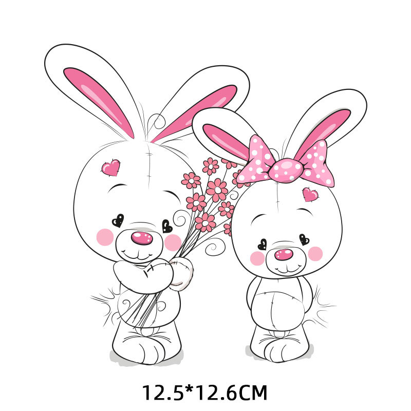 Iron on Patches Cute Small Animal Bear Rabbit Thermo Transfer for Clothes Decor Kids DIY Tops Badges Backpack Stickers T shirt E in Patches from Home Garden