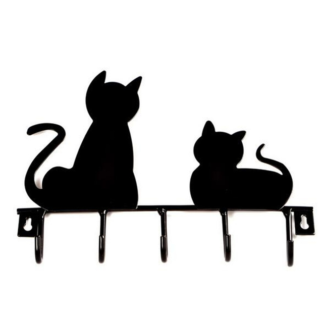 practical cat shape metal wall hook wall mounted clothes coat key hanging storage rack towel holder
