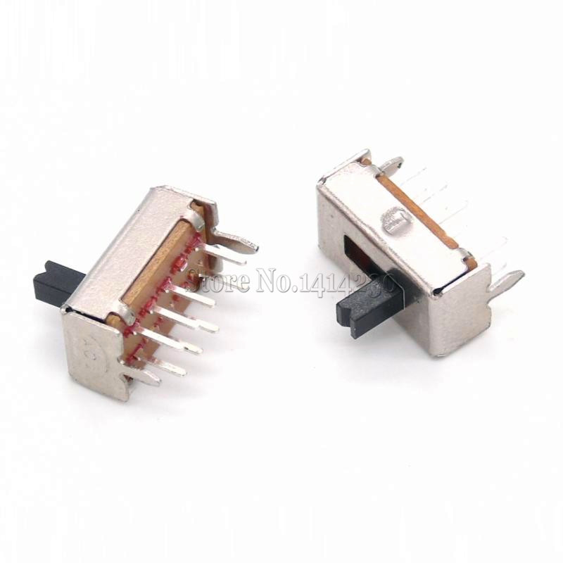 10PCS SS23D07 8 PINS 3 Position 2P3T Toggle Switch Double Vertical Sliding Switch Handle Length 4MM Bracket
