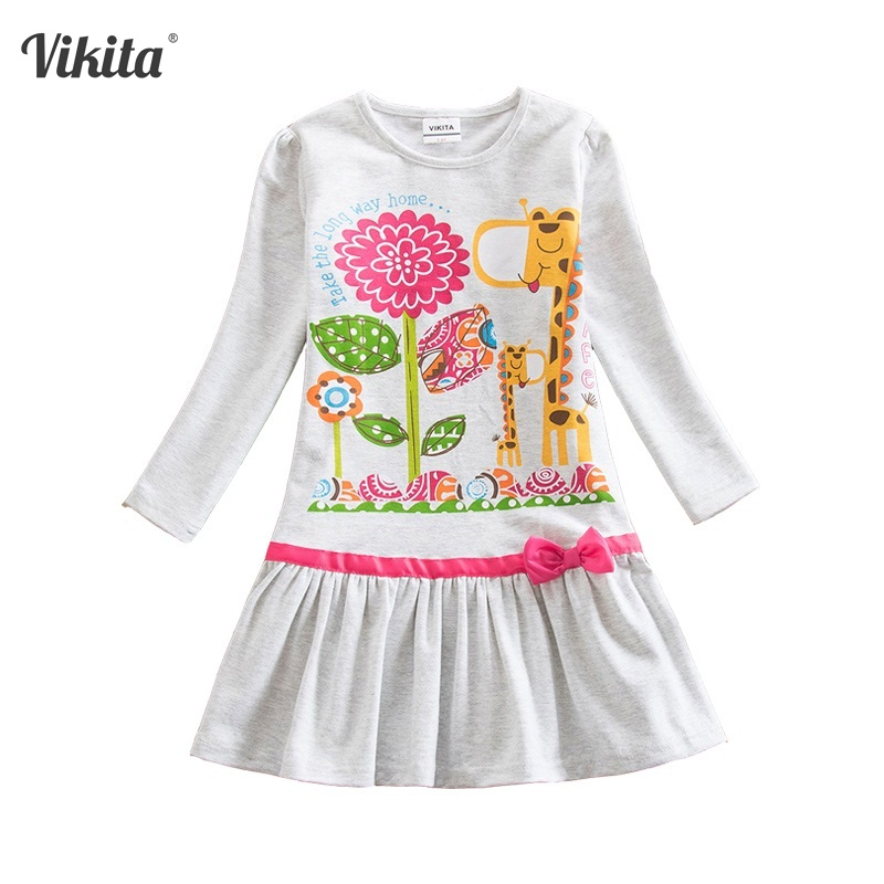 4-8Y Retail Girls Dresses Kids Girl Dresses Gray Baby Girl Princess Dresses Long Sleeve Children Clothing Wear VIKITA LD6661 girls europe and the united states children s wear red princess long sleeve princess dress child kids clothing red bow lace