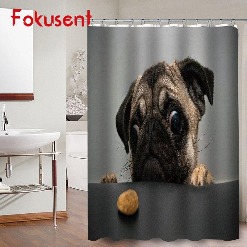 FOKUSENT Cute Animal Cat Raccoon Dog Pug Print Polyester Bathroom High Quality Fabric 3D Shower Curtains